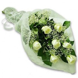 White rose bouquet 50 cm with greens