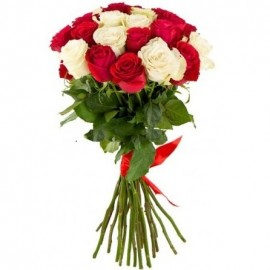 Long red and white roses 70 cm. Select amount of flowers