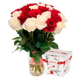 Red and white roses 50 cm with Rafaelo