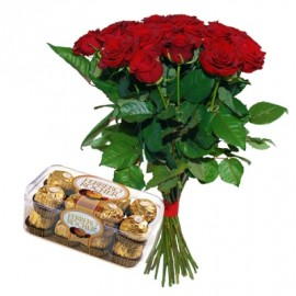 Red roses 60 cm with Ferrero Rocher (select number)