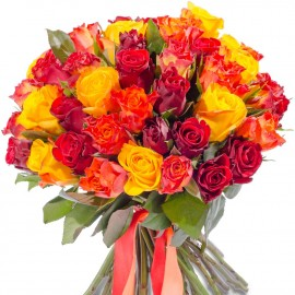 Red, yellow and orange roses 40 cm (select the number of flowers)