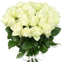 Flower bouquet White roses 40 cm (variable quantity of flowers)