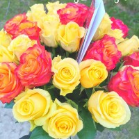Orange and yellow roses 50 cm. Changeable amount of rose in bouquet.