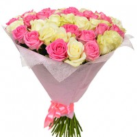 White and pink roses 60 cm