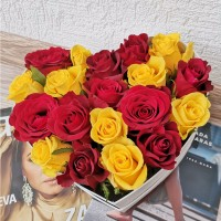 Red and Yellow Roses in flowers box (only in Riga)